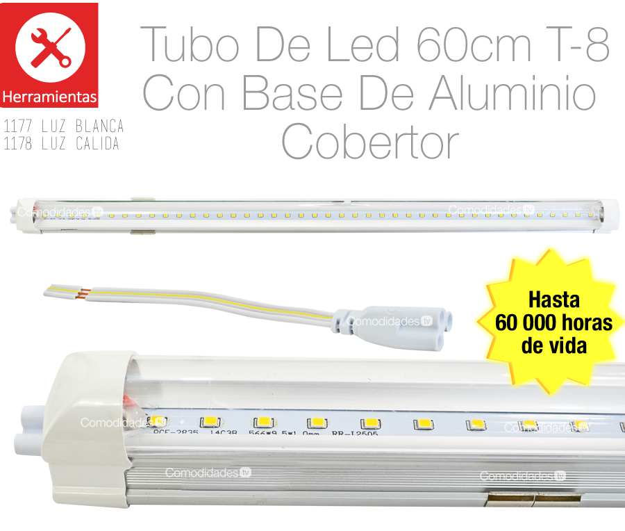 Tubo led t8 base aluminio 8w luz blanca o calida 60cm for Luz blanca o calida